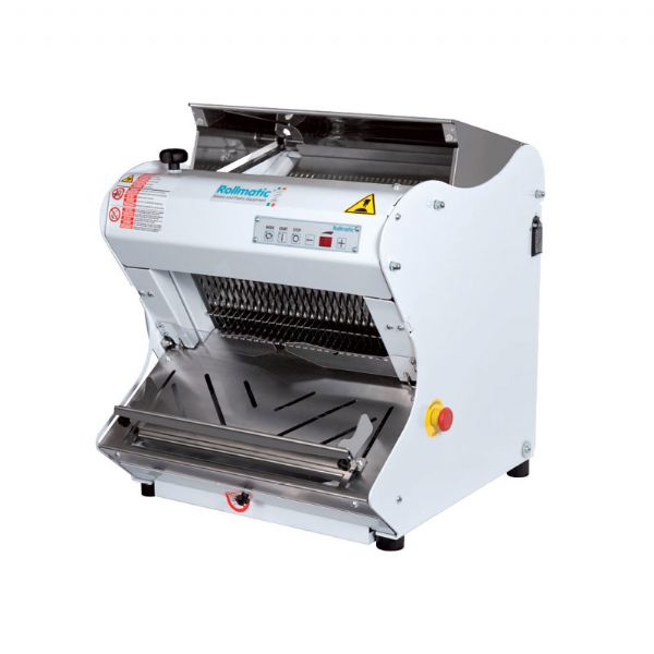Bench type bread slicers